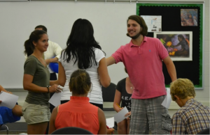 students trying out brain break activities in a classroom